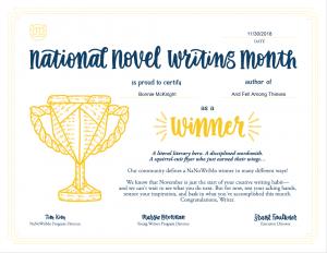 NaNo 2018 Winner Certificate