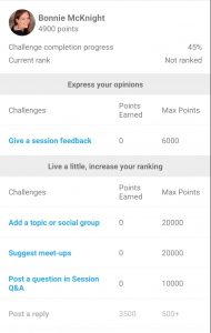 Screenshot of Whova virtual point earning